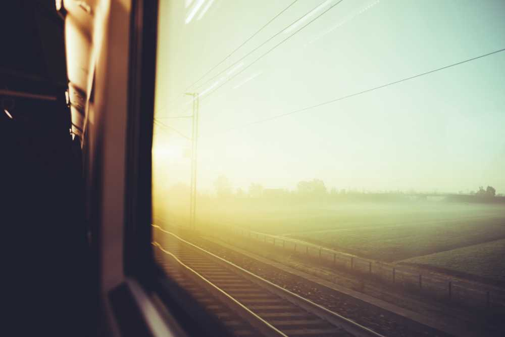 Sunshine outside a train window